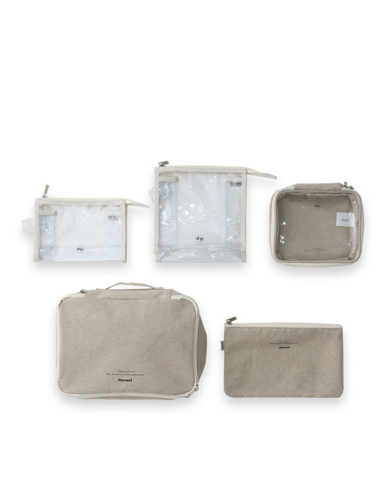 travel pouch set (ivory / beige)