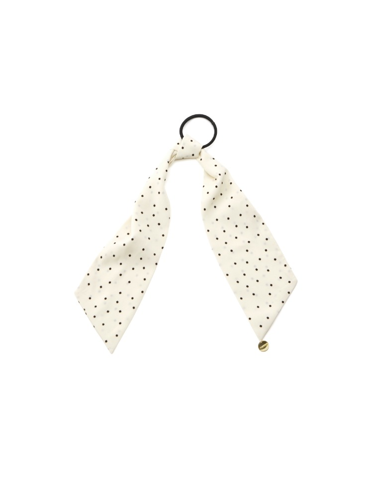 dot scarf scrunchie - ivory